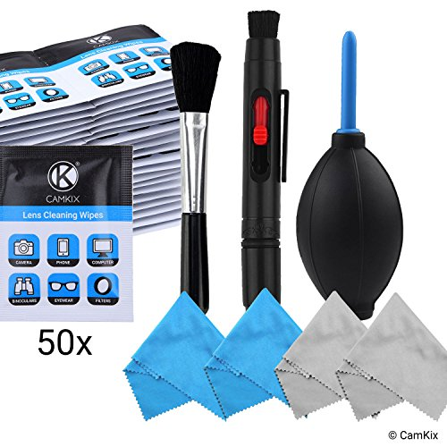 Camera Lens Cleaning Kit - Air Blower, Cleaning Brush, 2in1 Lens Cleaning Pen, 50 Individually Wrapped Wet Tissues and 4 Microfiber Cloths - Keeps Your DSLR, Compact Camera or Action Camera Lens Spotless