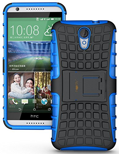 Heartly Flip Kick Stand Spider Hard Dual Rugged Armor Hybrid Bumper Back Case Cover For HTC Desire 620 620G 820 Mini Dual Sim - Power Blue
