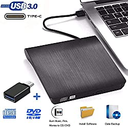 Externe DVD CD Laufwerke - iAmotus DVD Laufwerk USB 3.0 Type-c Dual Port DVD Brenner Tragbare Ultra Slim CD/DVD RW Player Disc Rewriter für Laptop,Desktop,Notebook, Mac OS, Windows 10/8/7/XP Linux OS