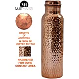 MustHaves™ 100% Natural Copper - Hammered Copper Water Bottle In 1000 ML / 1 Litre - Handmade,Joint Free & Leak Proof For Ayurvedic Health Benefits & Personal Use (Pack Of 1)
