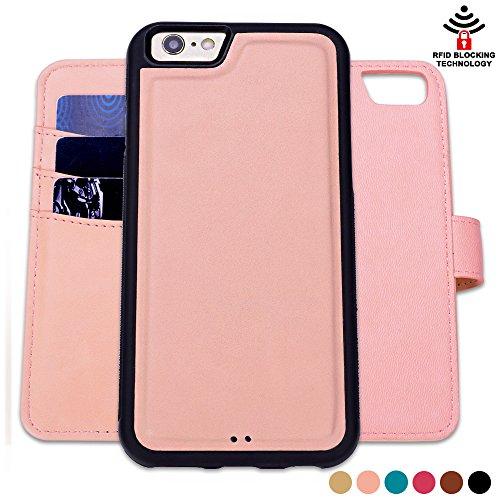 Custodia iPhone 6 6S, SHANSHUI staccabile Case in Pelle Con Magnete Supporto Stand in blocco RFID Portafoglio Porta Carte e Protettiva Flip Portafoglio Flip Case (Pink,rosa) - Ivory Pearl Carta