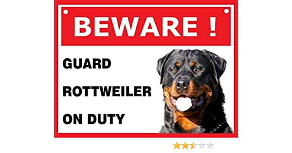 SIGN W SELF ADHESIVE FREE POSTHYT /'GUARD DOG ON DUTY/'  PEEL AND STICK SIGN