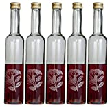 5 leere gravierte Glasflaschen 350ml Hollunder Flasche Likörflasche Likörflasche Schnapsflasche zum Befüllen von feiner-Tropfen