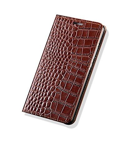 Kaffee Krokodil Tasche (Yidai-Silu iPhone XR Echt Leder Flip Hülle, 【Luxuriös Krokodil Muster, Business】 Handy Tasche Wallet Case Schutz Cover für iPhone XR 6,1 Zoll - Alligator Kaffee)