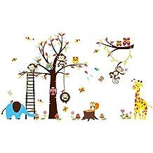 para habitaciones infantiles y de beb/é le/ón, jirafa, mono Pegatinas adhesivas de vinilo para pared con dise/ños de animales salvajes de la jungla Rainbow Fox
