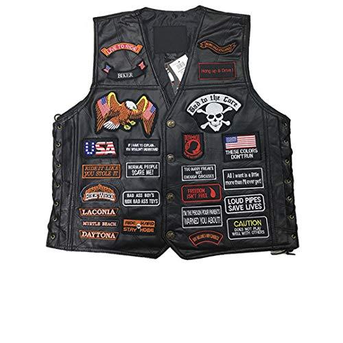 SAFETNG Echtes Leder Motorrad Weste Punk Retro Classic Patches Motorradjacke Biker Club Freizeitkleidung 42 XL