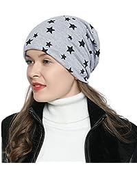 0ddcb2bfb42ca1 DonDon Damen Slouch Winter Mütze Beanie gefüttert mit Stern Print