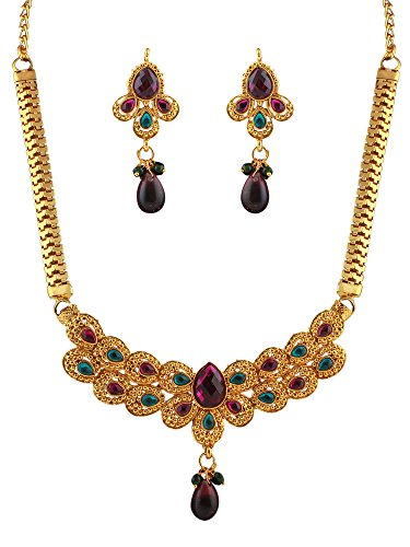 Variation's Dark Pink & Blue Gold Plated Necklace set for Women  available at amazon for Rs.199