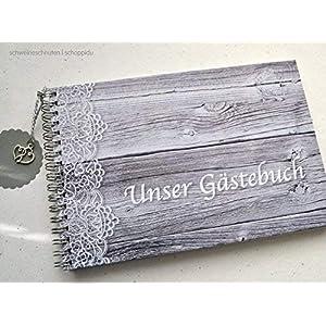 Gästebuch DIN A5 Hochzeit Holzlook mit Spitze