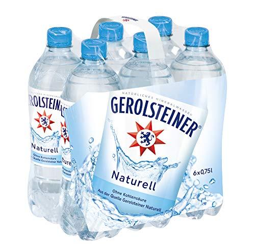 Gerolsteiner Naturell - Natürliches Mineralwasser ohne Kohlensäure - Geeignet für eine natriumarme Ernährung - 6 x 0,75 L PET Einweg Flaschen - Natürliches Mineralwasser