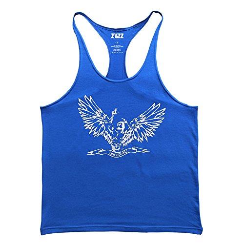 Musclealive Uomo Culturismo ZYZZ Moda Canottiera di cotone elastico 02 Black+02 Blue