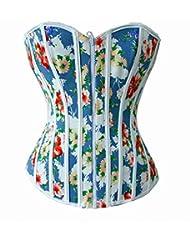 Quilla de nuevo estilo moda señoras flores ropa interior corsets pin apretados corsés cintura corsé poliéster 60% en forma de Tribunal se reunieron ropa interior del vientre del cuerpo , blue , s