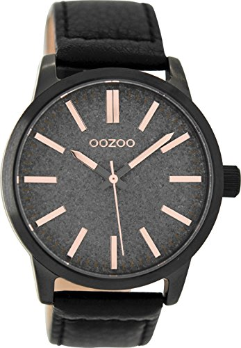 Oozoo Damenuhr mit Lederband 43 MM Black/Glitzer Grau/Schwarz C9068