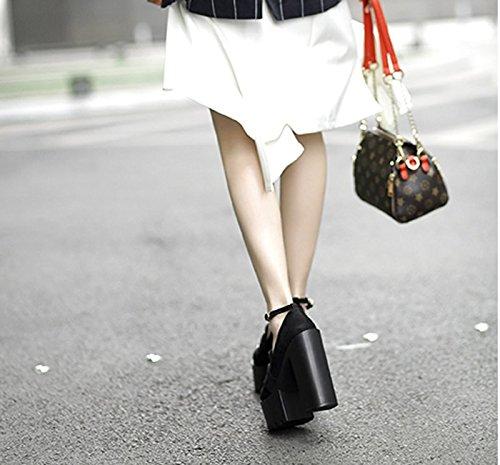 Gtvernh-noir Club Bar Performance Talon Haut Talon Chaussures Épaisses Épais Sous Des Talons Imperméables Chaussures Uniques Femmes, 39 Trente-six
