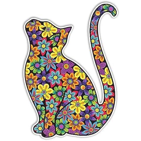 MeganJDesigns Cat-Adesivo da paraurti, motivo floreale, multicolore, hippy, stile Adesivo per auto, motivo: cane da parete, motivo decorativo floreale, in confezione regalo - Hippy Cane