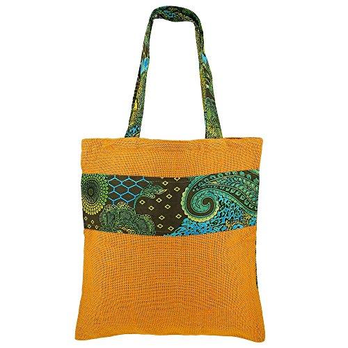 Swayam Multi Große Einkaufstasche - Boho-Einkaufstasche hergestellt aus natürlichen Eco Friendly Jute (Kors Paisley Michael)