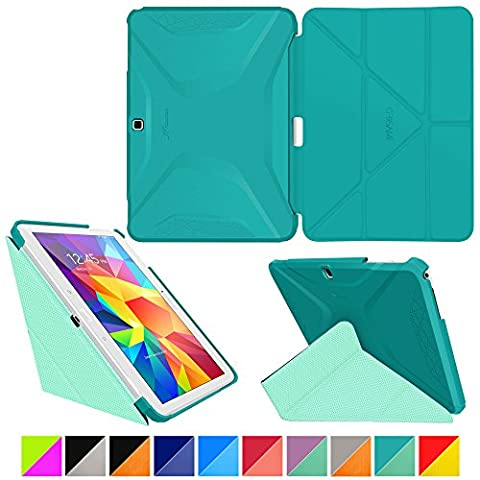 roocase Samsung Galaxy Tab 4 10.1 Case - Origami 3D [Turquoise Blue / Mint Candy] Slim Shell 10.1-Inch 10.1