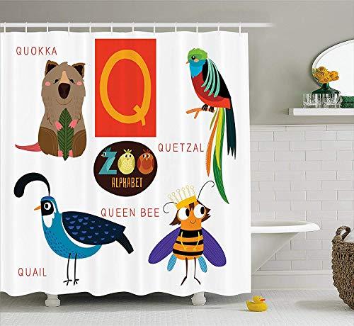 Yeuss ABC Kinder Duschvorhang, Studie Q Zeichen mit Natur Leben Bienenkönigin Quetzal Quokka Wachtel Haustier Illustration, Tuch Stoff Badezimmer Dekor Set mit Haken, Multicolor
