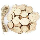 50 x Holzscheiben Baumscheiben Anhängeetiketten Holz Anhänger Geschenkanhänger Namenskarten mit Faden Basteln Hochzeit Party Deko zum Selbstgestalten