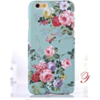 Designer Style new iphone 5/5s pretty floral vintage retro rose blossom tropical flowers hard shell case/cover by im (iPhone 5/5s, aqua)
