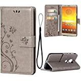 Teebo Custodia Cover per Motorola Moto E5, Custodia a Portafoglio in Pelle PU Premium con Porta ID e Porta Carte di Credito con Supporto Chiusura Magnetica, Grigio