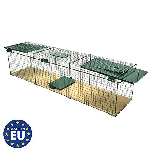 Moorland Trappola Cattura Animali vivi Safe 6044-116x28x28cm Pavimento in Legno Gabbia per Cattura ratti volpini Gatti