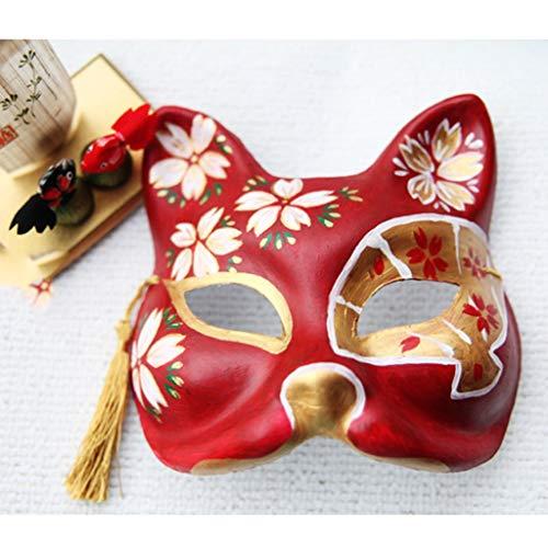 TXOZ Die Silver Fox-Maske Halloween Japanische Katze Fuchs Kopfschmuck Mit Quasten Neujahrsfest Geburtstagsgeschenk Cosplay (Silver Fox Kostüm)