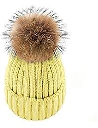 Amazon.es  gorros de lana con pompon - Amarillo   Gorros de punto ... c35f4d87700