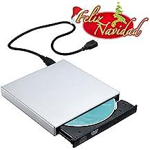 TopElek Grabadora DVD-R CD-RW Externa Portátil USB TopElek, Unidad CD Externa, Lector CD Externo USB, Quemador Drive con Cable de Datos y Cable de Alimentación para Windows 2000 / XP / Vista, Windows 7 / 8 / 10, Mac OS y otros Sistemas- Plata