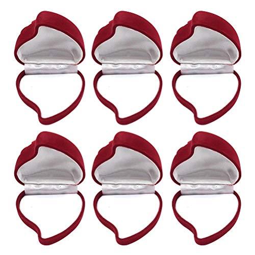 BESPORTBLE Ring Boxen Ohrring Schmuckschatullen dekorative Geschenkboxen Veranstalter Fall Bulk Herz für Weihnachten Trauung Mütter Valentinstag, 6PCS rot