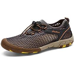 ailishabroy Las zapatillas de deporte de los hombres atan para arriba los zapatos corrientes respirables del deporte de la malla (43 EU, Gris)