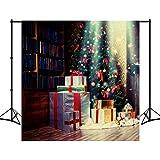 8X18ft Polyester Weihnachtsbaum Foto Hintergrund Bücherregal Geschenke Holzboden Fotografie Hintergrund Studio Requisiten