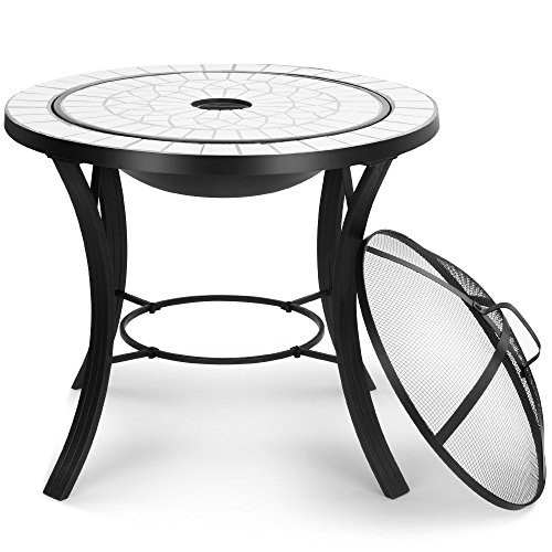 VonHaus Fire Pit Coffee Table with White Mosaic Tiled Top & BBQ Grill Rack – Outdoor Black Steel Garden Patio Heater Bowl/Burner for Wood & Charcoal
