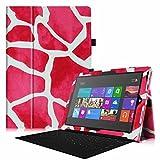 Fintie Microsoft Surface Pro 3 Hülle Case - Hochwertige Kunstleder Slim Fit Stand Tasche Schutzhülle Etui Cover mit Stylus-Halterung für Microsoft Surface Pro 3 12, Giraffe Pink