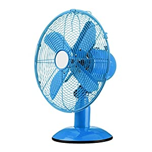 Premier Housewares Oscillating Desk Fan with 3 Speeds, Blue