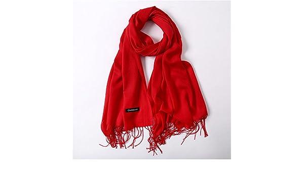 HITSAN INCORPORATION women scarf fashion summer thin solid shawls and wraps  lady pashmina bandana female hijab winter long foulard head scarves red  ... 3727e818243