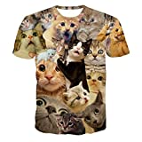 Herren Shirts Rosennie Lustige Jungen Männer Frühjahr und Sommer 3D-Druck visuellen Design Mode Trend Kurzarm T-Shirt Sweatshirt Kitty Katze Top T Bluse Casual Basic O-Neck Hemd Top Tees (XXL, Blau)