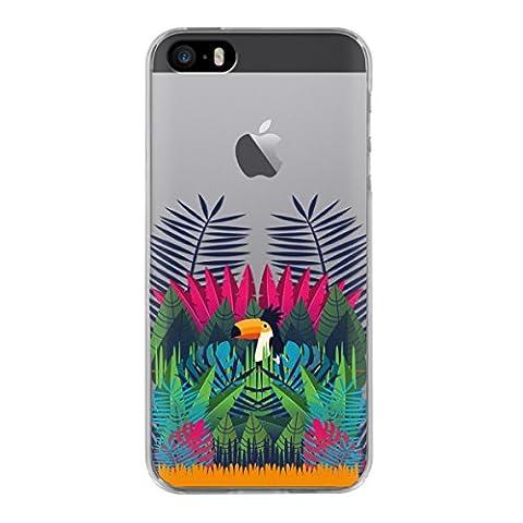 BigBen Connected Coque semi-rigide pour iPhone 5/5S/SE Motif Amazonia Multicolore