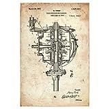 artboxONE Poster 60x40 cm Automobile Auto Getriebe (Antik) hochwertiger Design Kunstdruck - Bild Retro Auto Motor