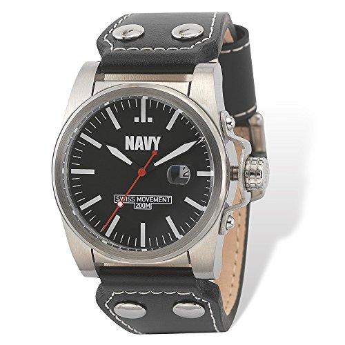 us-navy-poignet-montre-armor-c1-blk-wht-cadran-noir-bracelet-en-cuir
