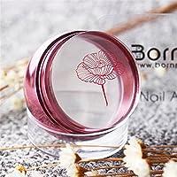 Born Pretty - 1 estampador de uñas rosa dorado de silicona transparente, cabezal con tapón y raspador