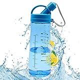 1L Bouteille d'eau Réutilisable Plastique Eau Bouteille sans BPA, Portable Sport Bouteille d'eau avec Filtre pour Gym, Camping, Cyclisme, Yoga, Bleu