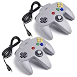iNNEXT 2x USB para Nintendo 64 N64 Control Gamepad Joystic Mando de juegos para PC Mac Windows (Gris x 2)