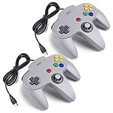 iNNEXT 2x USB para Nintendo 64 N64 Control Gamepad Joystic Mando de juegos para PC Mac Windows (Gris x 2)