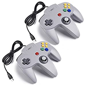 iNNEXT 2X N64 USB Retro 64-Bit Controller Wired PC Gamepad Klassischen Joypad Joystick Für MAC Windows Linux Raspberry Pi 3 (Grau)