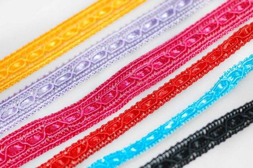 Neotrims Deko 8mm Crochet, flach Tape Style Viskose Textur Band indischen Sari Salwar Borte Bordüre Besatz. Wählen Sie aus 6atemberaubenden Farben: rot, türkis, Kirschrot, gelb gold, schwarz, Lavendel, Great Value Frauengewand Rand, Polyester, Turquoise (8mm), 2 m (Schwarz Plaid Ribbon)