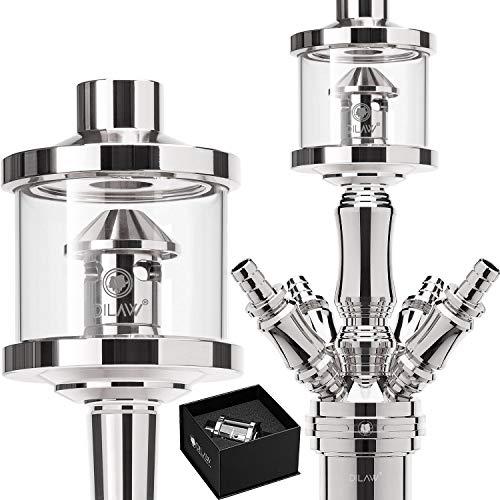 DILAW® Shisha DX1 Glas Molassefänger Edelstahl Wasserpfeife, Vorkühler-Aufsatz für(Schliff 18/8) Zubehör Farbe Silber