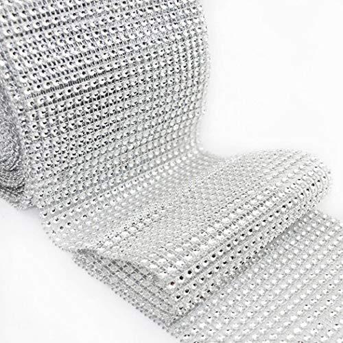 folowe 24 Lignes Wrap Roller Strass Ruban DIY Artificiel Mariage Décoration 91,5 x 12 cm / 36 x 4,72 Zoll (L x B) argenté