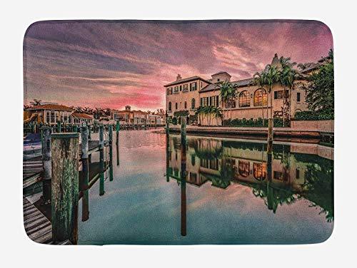 LLiopn Cityscape Bath Mat, Colorful Sunrise Over Venetian Bay Naples Florida Apartments Trees Waterscape, Plush Bathroom Decor Mat with Non Slip Backing, Purple Green 15.7x23.6 inch