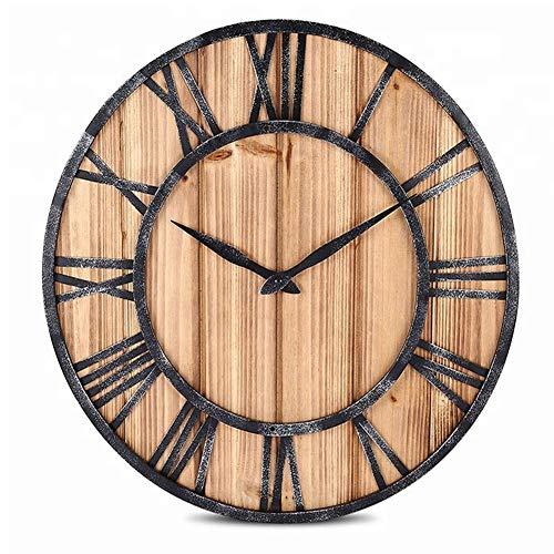 Orologio muro retrò ferro legno nordic creative legno handmade ferro muro clock retrò living bar personalità orologio orologio arte,45cm